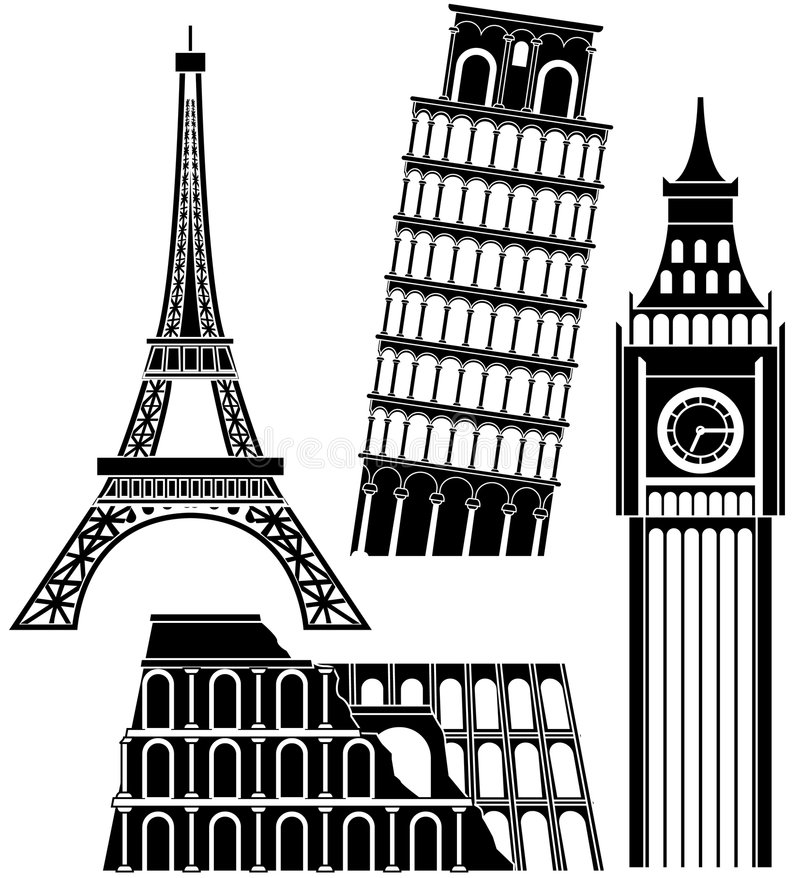 Download Sights of the world series stock vector. Image of tower - 5366089