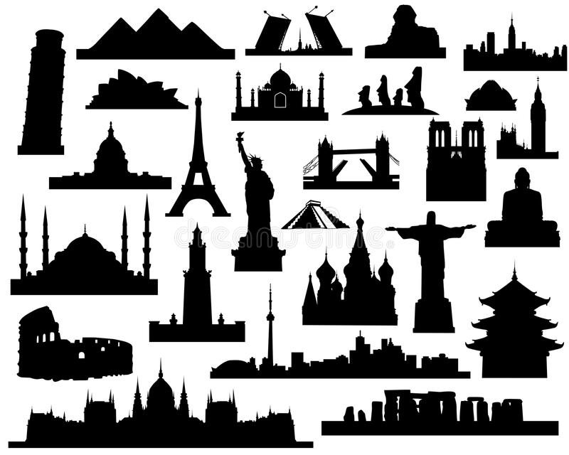 Sights of the world. Vector silhouettes attractions of the world on a white background vector illustration