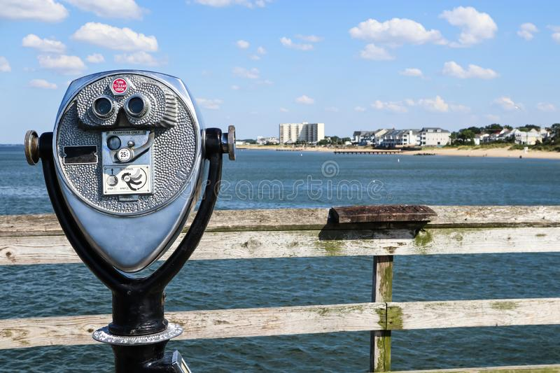 Sightseeing Binoculars on Ocean View Fishing Pier stock photography