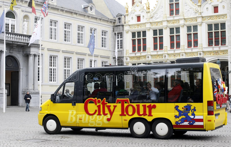 Sightseeing Bus in Brugge stock image