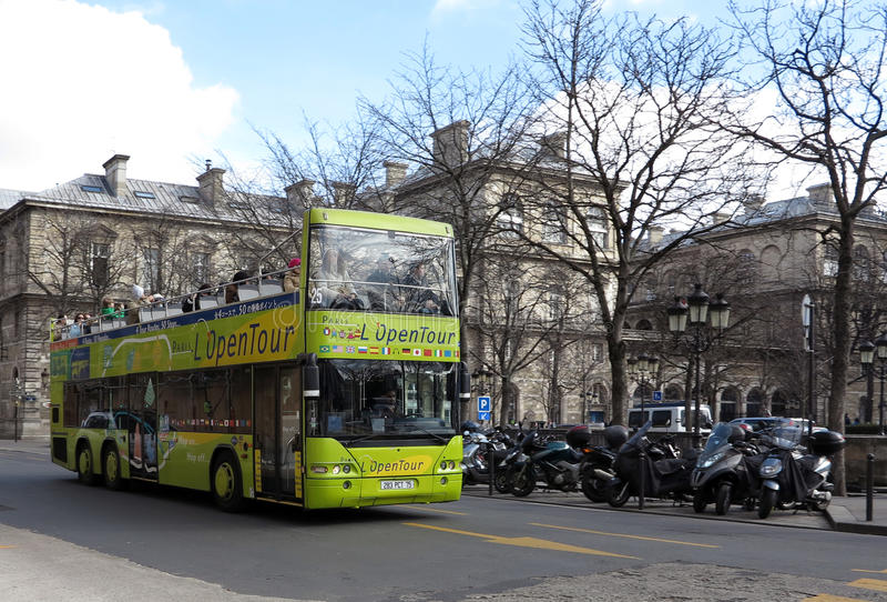 Sightseeing bus in Paris stock photos
