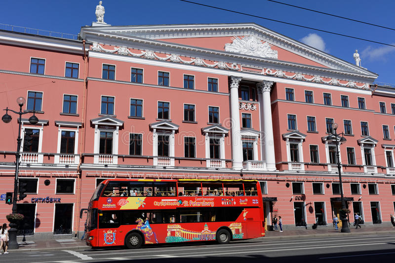 Sightseeing bus in St. Petersburg, Russia royalty free stock photo