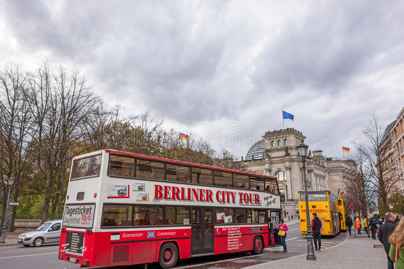 Sightseeing buses near Reichstag building, Berlin royalty free stock photography
