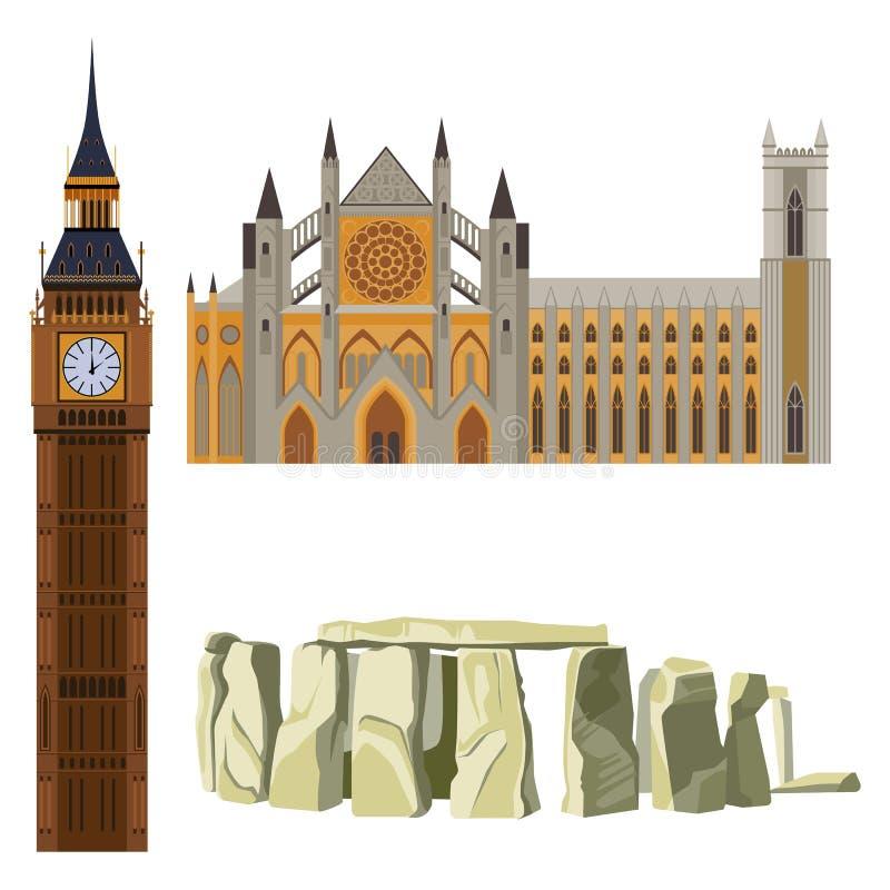 Sightseeing da abadia de Westminster de Grâ Bretanha, Big Ben, Stonehenge ilustração royalty free