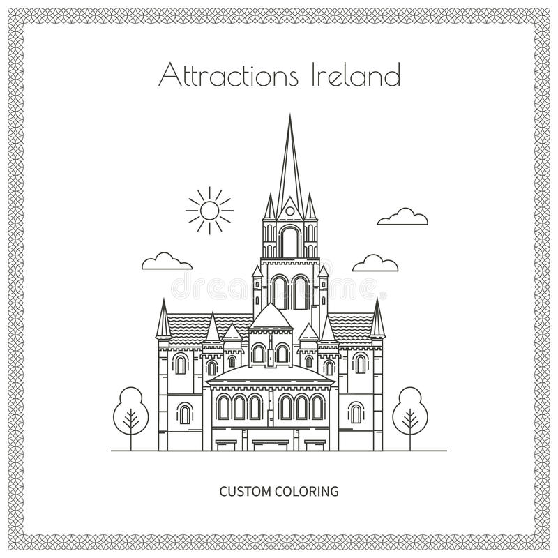 Sightseeing Ireland Pictures. Attractions Ireland. City. Architecture. The flat trend line illustration. Ideal for custom coloring book royalty free illustration