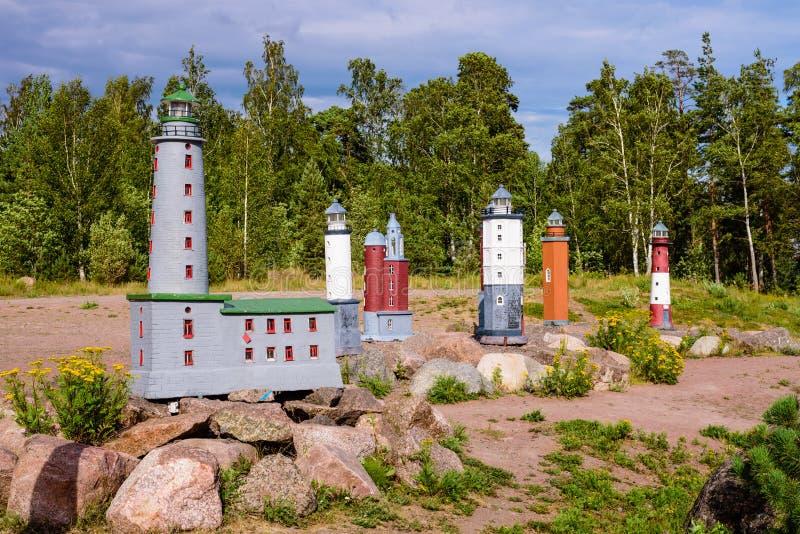 Beautiful small lighthouses in Katarina Park. Sightseeing of Kotka. Beautiful small lighthouses in Katarina Park, Kotka, Finland stock images