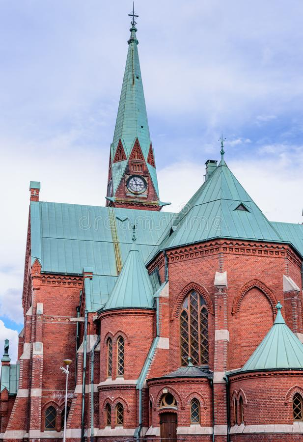 The red-brick church in the centre of Kotka stock photos
