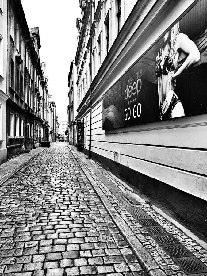 Sightseeing Poznan Художнический взгляд в черно-белом стоковое изображение rf