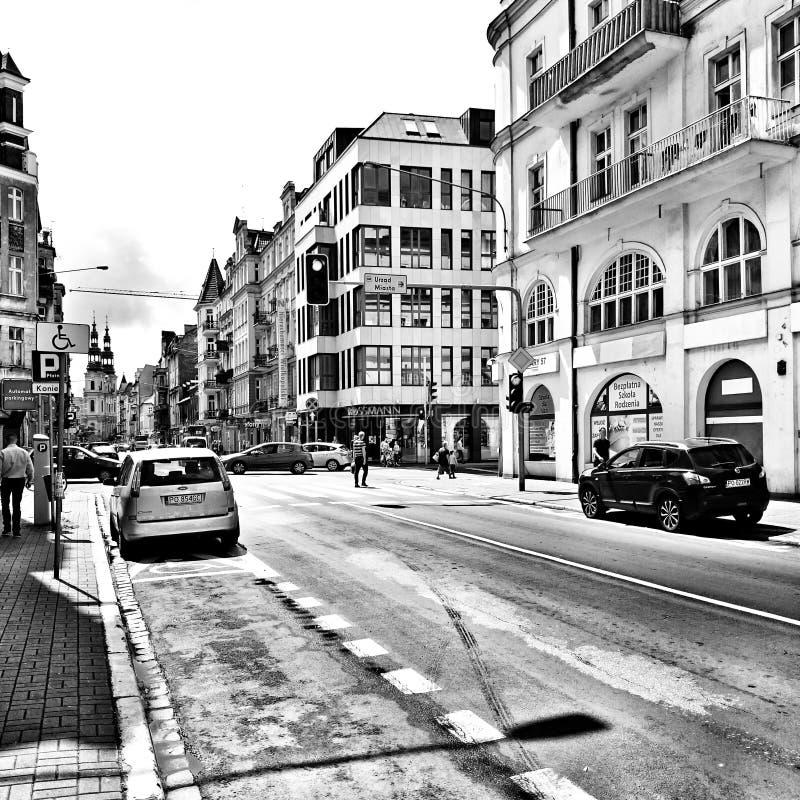 Sightseeing Poznan Художнический взгляд в черно-белом стоковая фотография rf