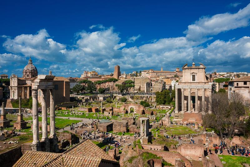 Visiting Roman Forum royalty free stock images