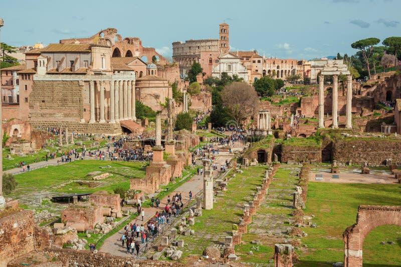 Visiting Roman Forum royalty free stock image