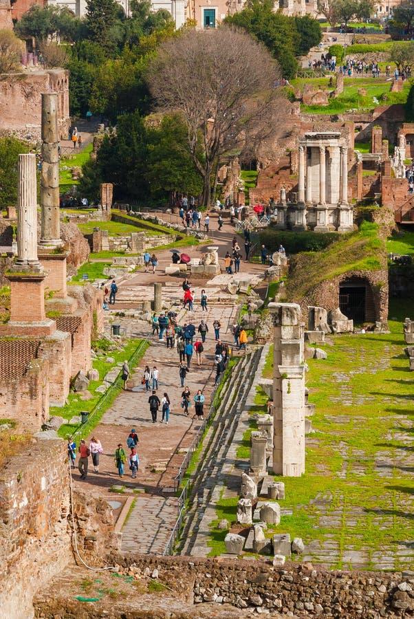 Visiting Roman Forum stock images