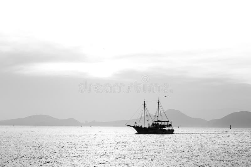 A sightseeing sail boat sailing in Santos Bay royalty free stock photo