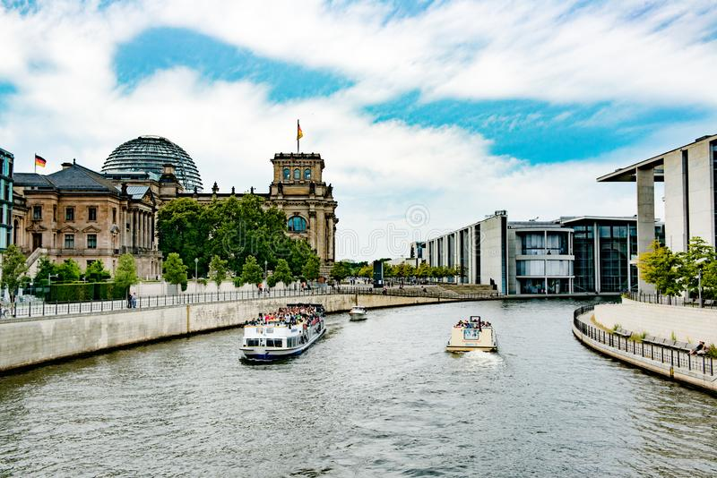 Boatstour Parliament Building, Berlin, Germany royalty free stock image