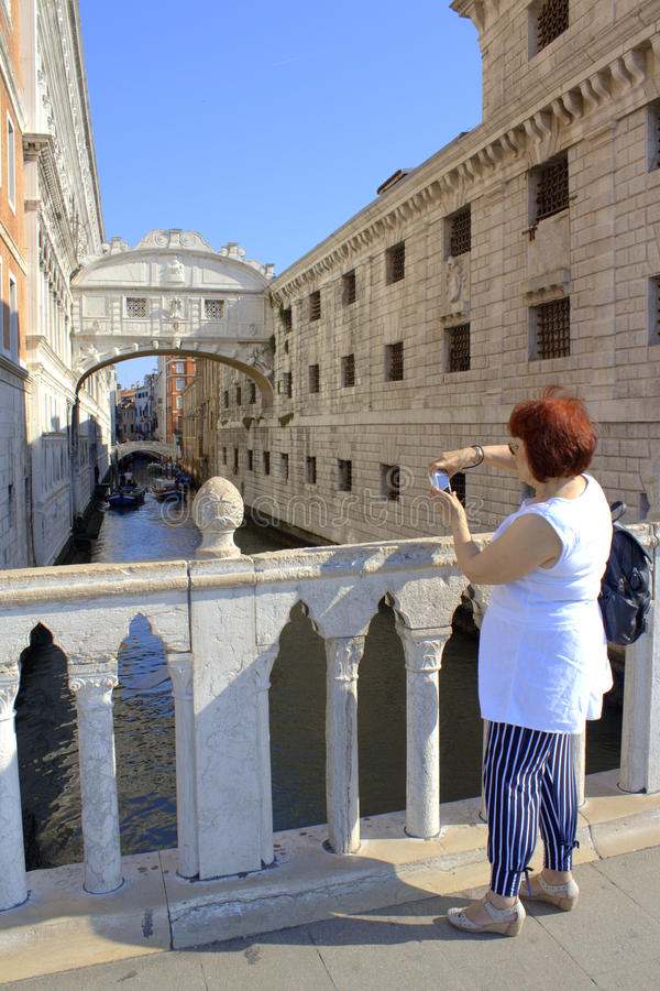 Sightseeing tourist woman in Venice stock images