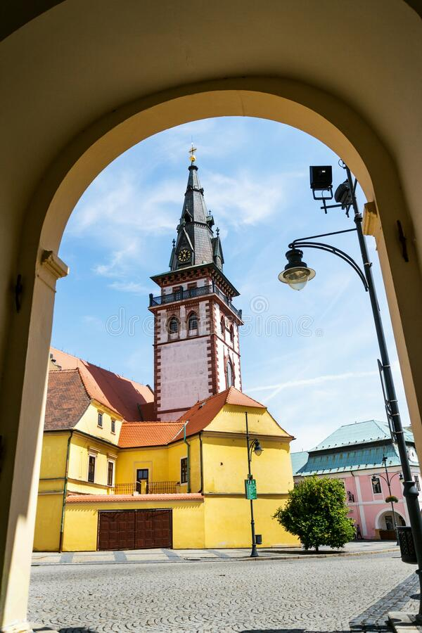 Sightseeing tower of the late gothic decanal Church of the Assumption of the Virgin Mary in Chomutov, Czech Republic. Sightseeing tower of the late gothic royalty free stock images