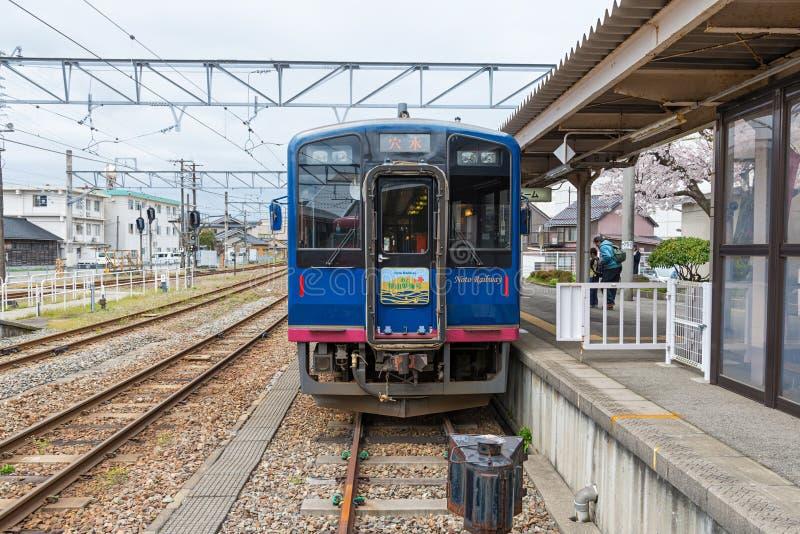 The sightseeing train Satoyama Satoumi Go at Nanao station. ISHIKAWA,JAPAN - APRIL 8,2016 : The sightseeing train Satoyama Satoumi Go at Nanao station. This stock image