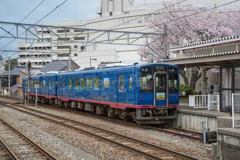 The sightseeing train Satoyama Satoumi Go at Nanao station. ISHIKAWA,JAPAN - APRIL 8,2016 : The sightseeing train Satoyama Satoumi Go at Nanao station. This royalty free stock photos