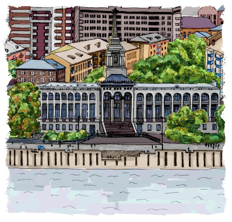 River Station in Krasnoyarsk royalty free illustration