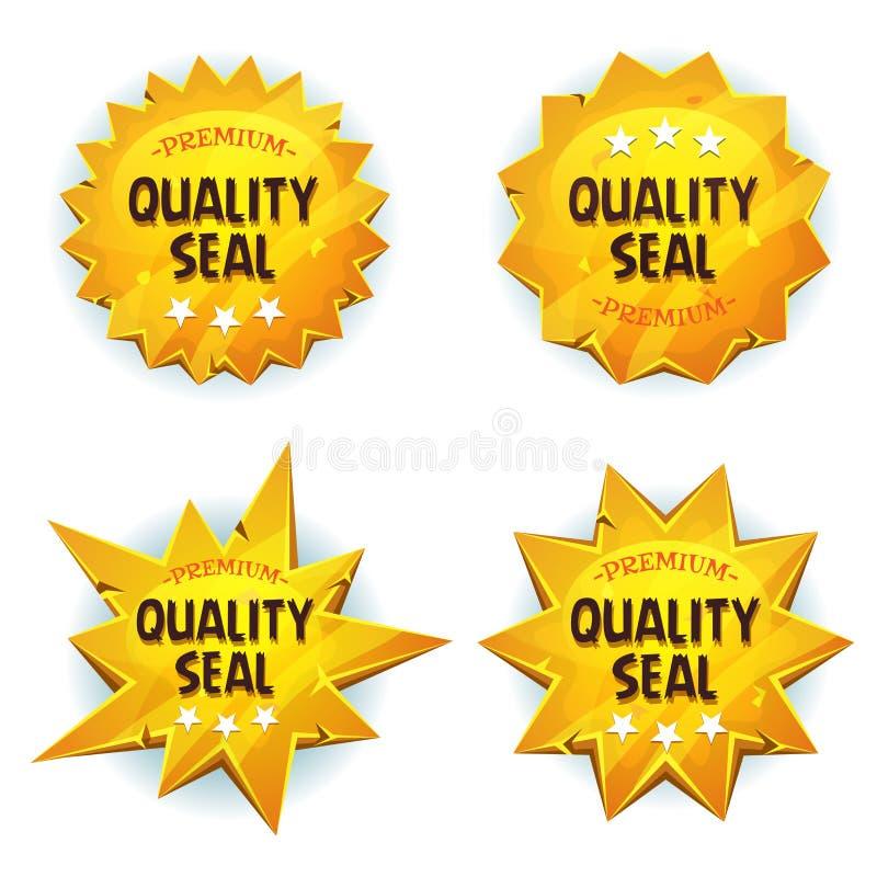 Sigilli di qualità super dell'oro del fumetto illustrazione di stock