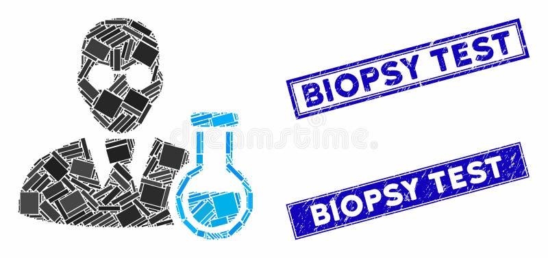 Sigilli per il campione di biopsia del mosaico e del rettangolo di grattugiatura del chimico illustrazione di stock