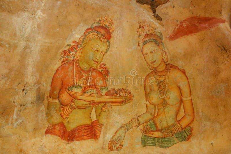 Sigiriya Cave Paintings , Srilanka royalty free stock image