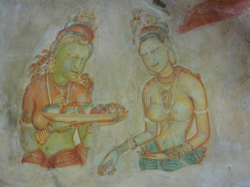 Sigiriya Frescoe paintings in Sri Lanka - Painting 4 royalty free stock image