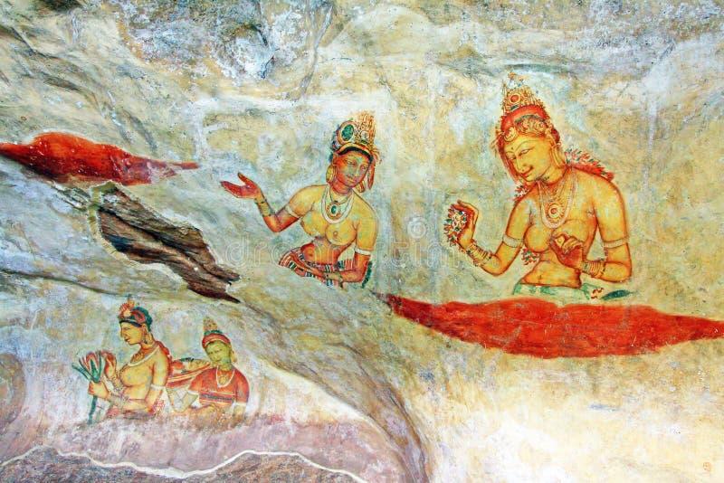Sigiriya-Freskos - Sri Lanka UNESCO-Welterbe stockfotografie