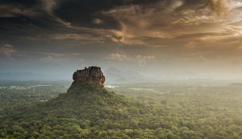 Sigiriya Lion Rock fortress, view from Pidurangala,Sri Lanka. Consider as the 8th wonder of the world royalty free stock photography