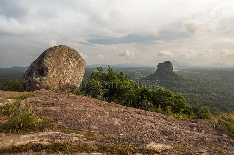 Sigiriya Lion Rock fortress, view from Pidurangala,Sri Lanka. Consider as the 8th wonder of the world stock photos