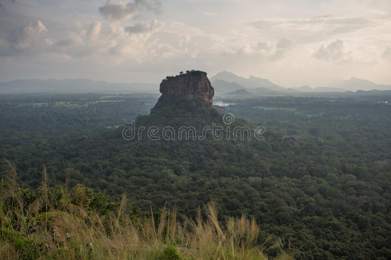 Sigiriya Lion Rock fortress, view from Pidurangala,Sri Lanka. Consider as the 8th wonder of the world stock images