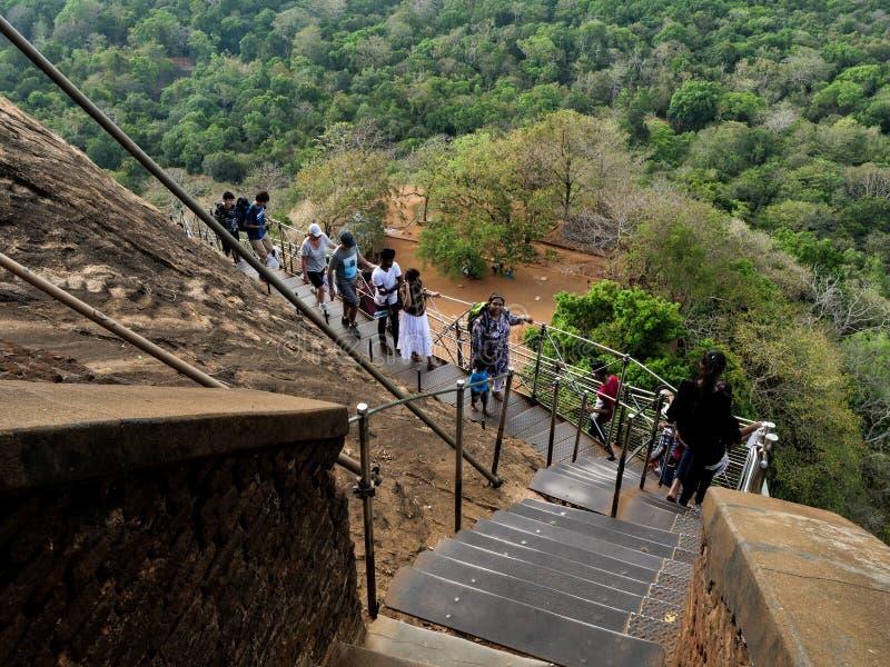Sigiriya oude rots in Sri Lanka stock afbeeldingen