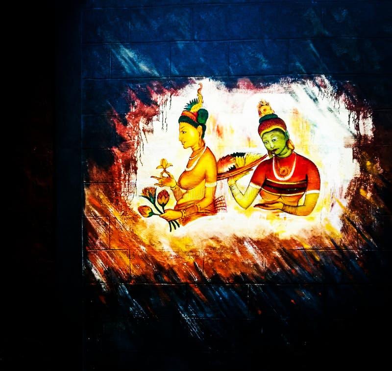 Sigiriya Wall Paintings stock photo