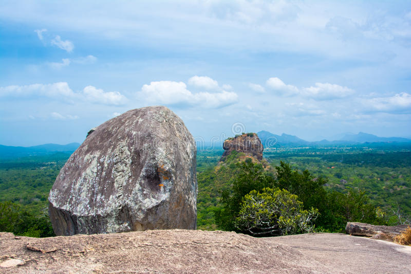 Sigiriya Rock Fortress View From Pidurangala Rock. Pidurangala Rock Has An Amazing View Of Nearby Sigiriya, Which Looked Even More Impressive From The Height stock photography