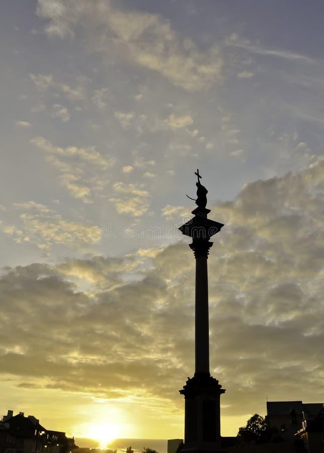 Sigismund 3. Vasaspalte. Sonnenuntergang in Warschau stockfoto