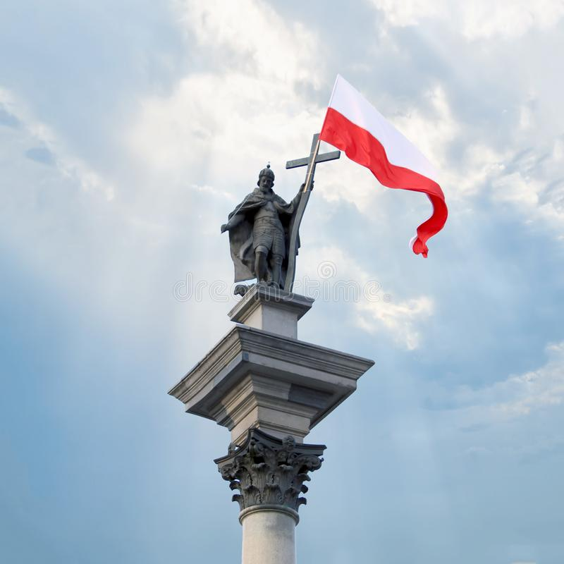 Sigismund`s Column in Warsaw. Sigismund`s Column located in Castle Square, Warsaw, Poland. Erected in 1644 in commemoration of King Sigismund III Vasa, One of stock photography