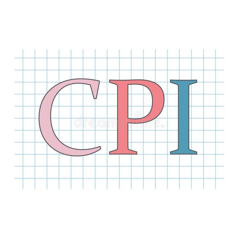 Siglas del índice de precios al consumo del CPI en la hoja de papel a cuadros libre illustration