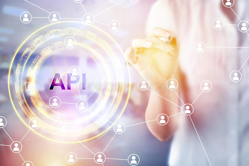 Siglas del API Concepto del negocio, de Internet y de la tecnología foto de archivo