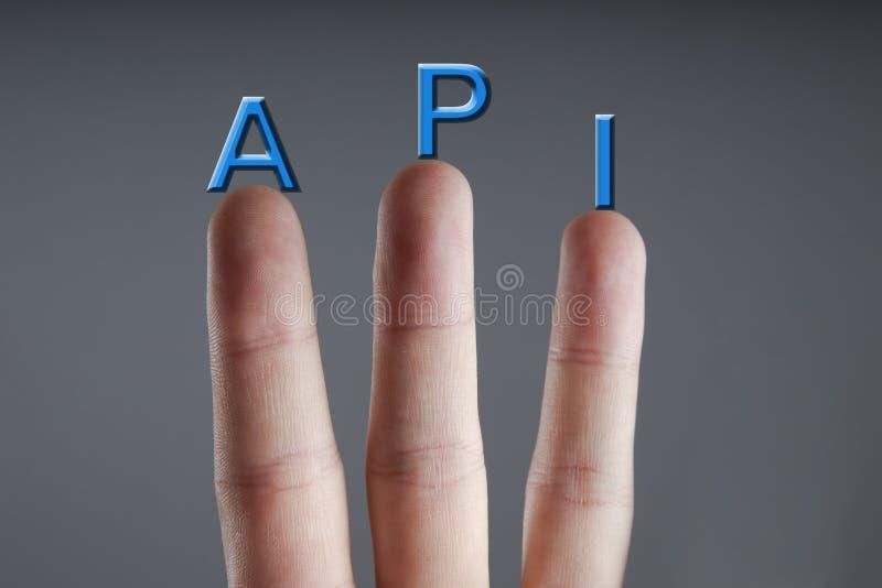 Siglas del API - programación del interfaz del uso Concepto del negocio, de Internet y de la tecnología imagen de archivo libre de regalías