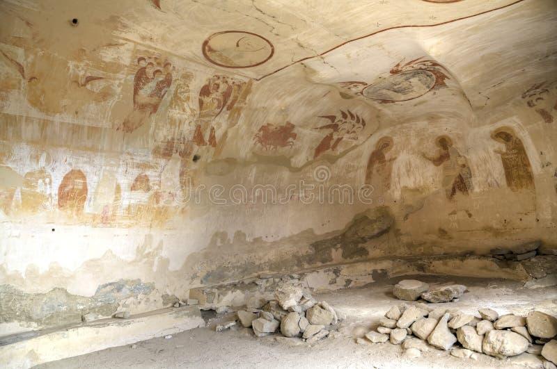 Siglo XIII de la pintura mural, monasterio de David Gareja y de Udabno imagenes de archivo
