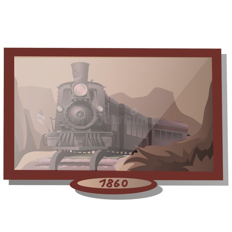 Siglo XVIII de la imagen con el tren americano stock de ilustración