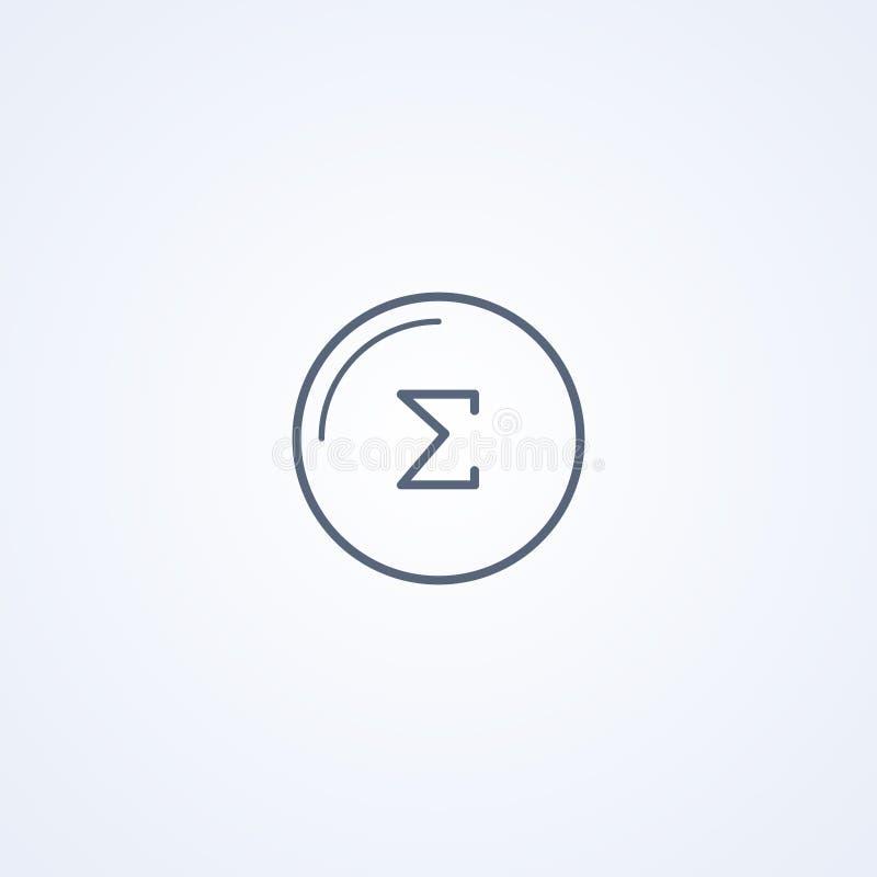 Sigma greek letter, vector best gray line icon stock illustration