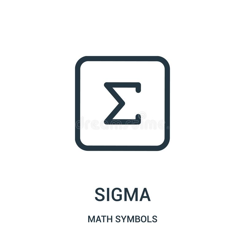 sigma icon vector from math symbols collection. Thin line sigma outline icon vector illustration royalty free illustration