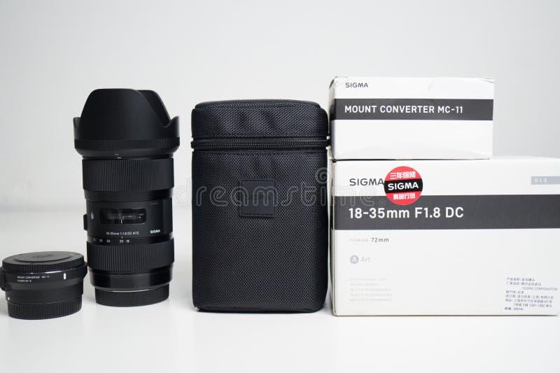 Sigma 18-35 1 Slut för 8 Lens upp royaltyfri fotografi