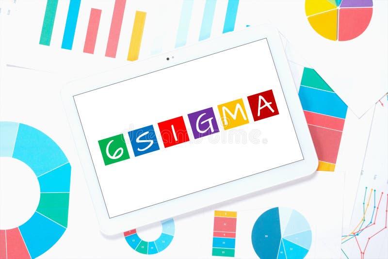 sigma 6 sul pc della compressa immagine stock