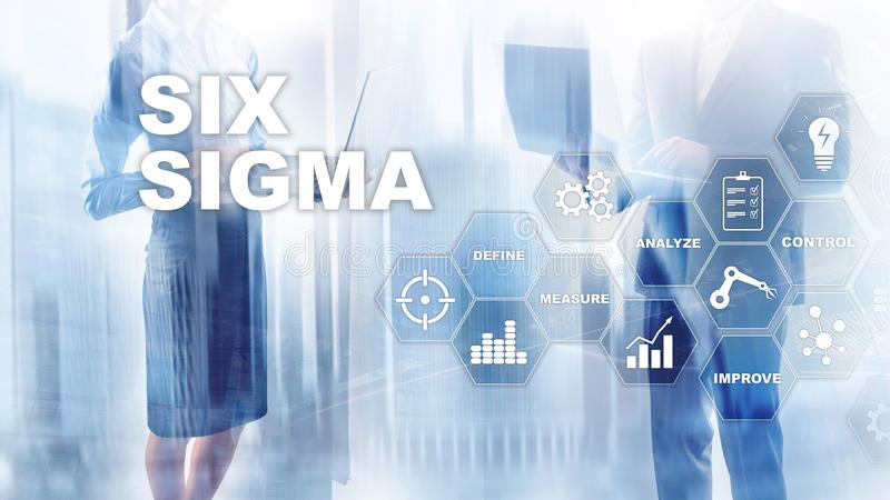 Sigma zes, productie, kwaliteitscontrole en industrieel proces die concept verbeteren Zaken, Internet en tehcnology vector illustratie