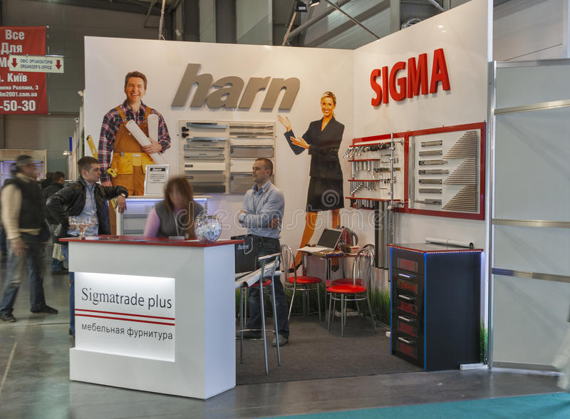 Download Sigmatrade Furniture Company Booth Editorial Photography - Image of indoors, banner: 38160642
