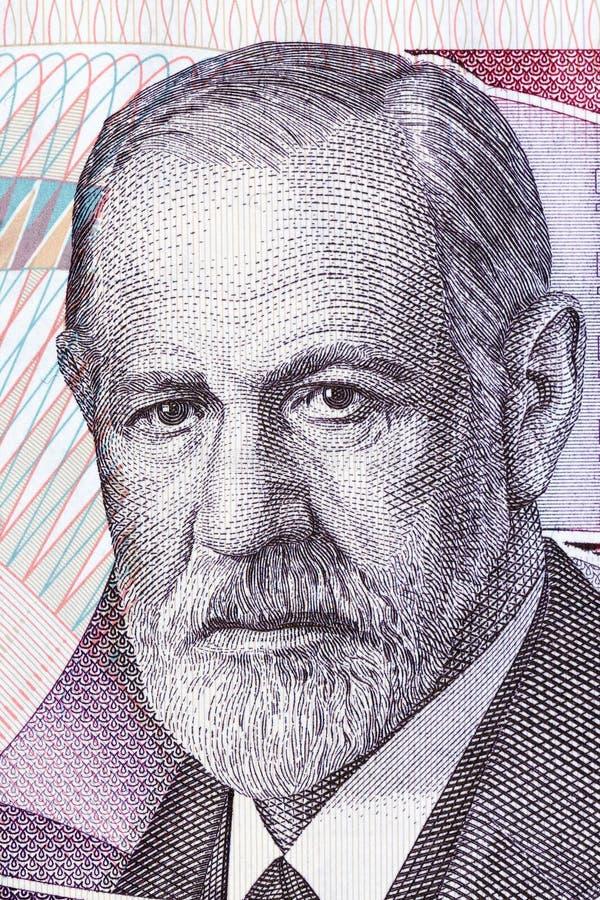 Sigmund Freud portret od Austriackiego pieniądze obrazy royalty free