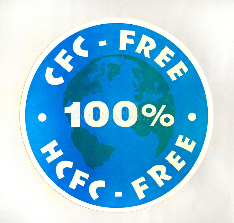 Sign 100% CFC, HCFC-free stock image