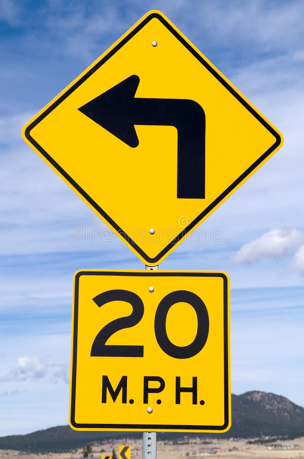 Download Sign for 20 MPH Curve stock image. Image of communication - 14375603
